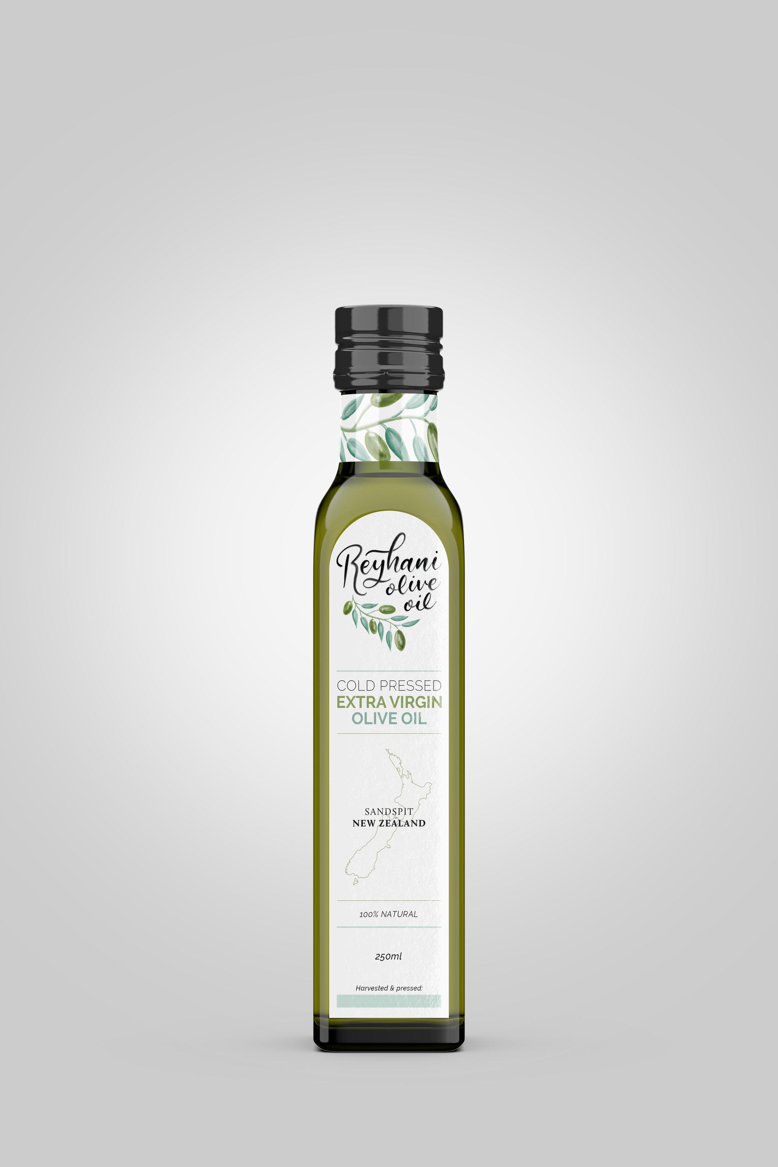 Full view of 250ml olive oil bottle