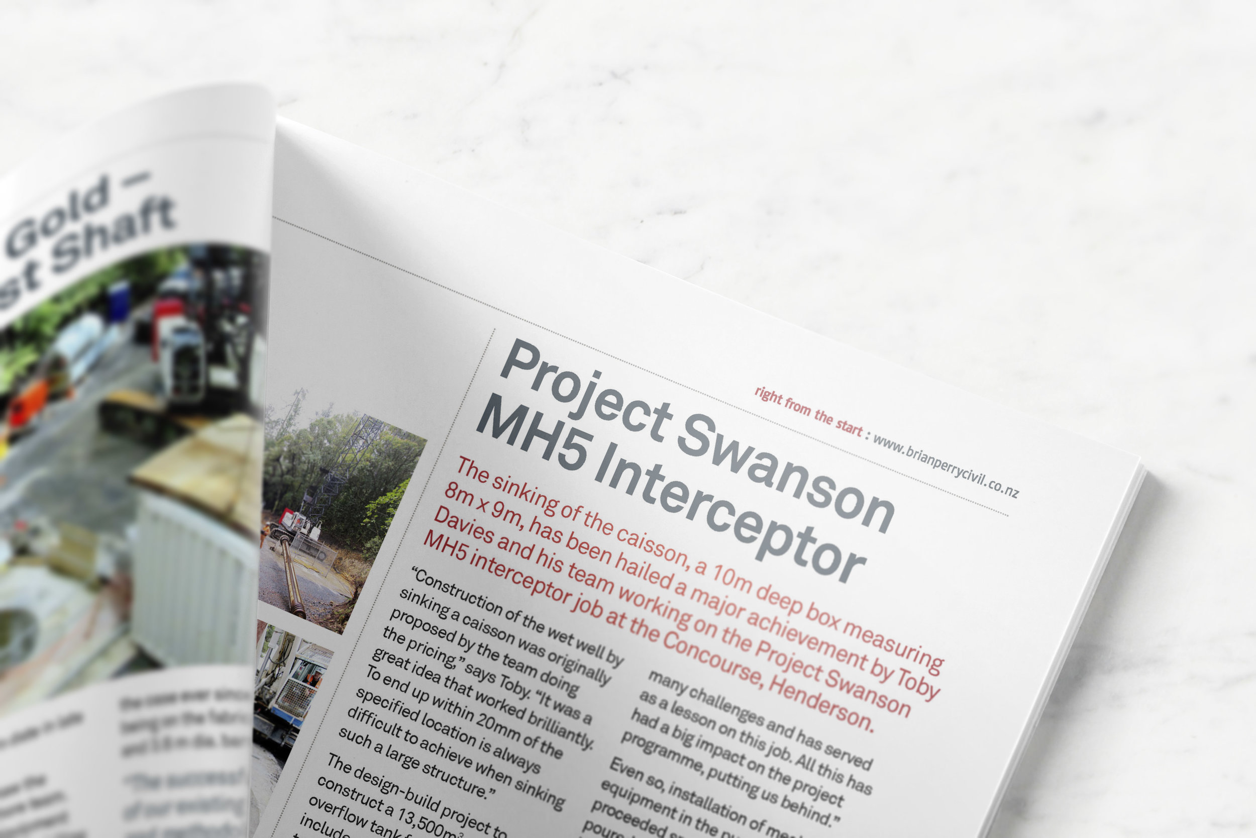 Close up view of inside of a newsletter