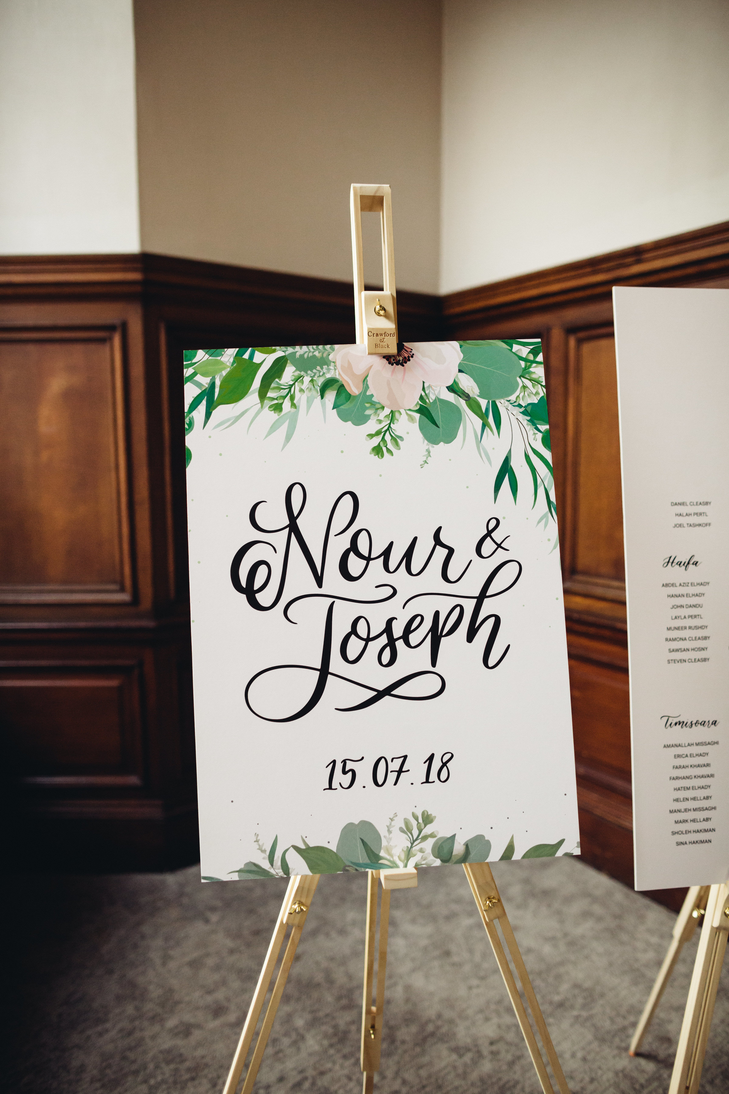 A wedding welcome sign