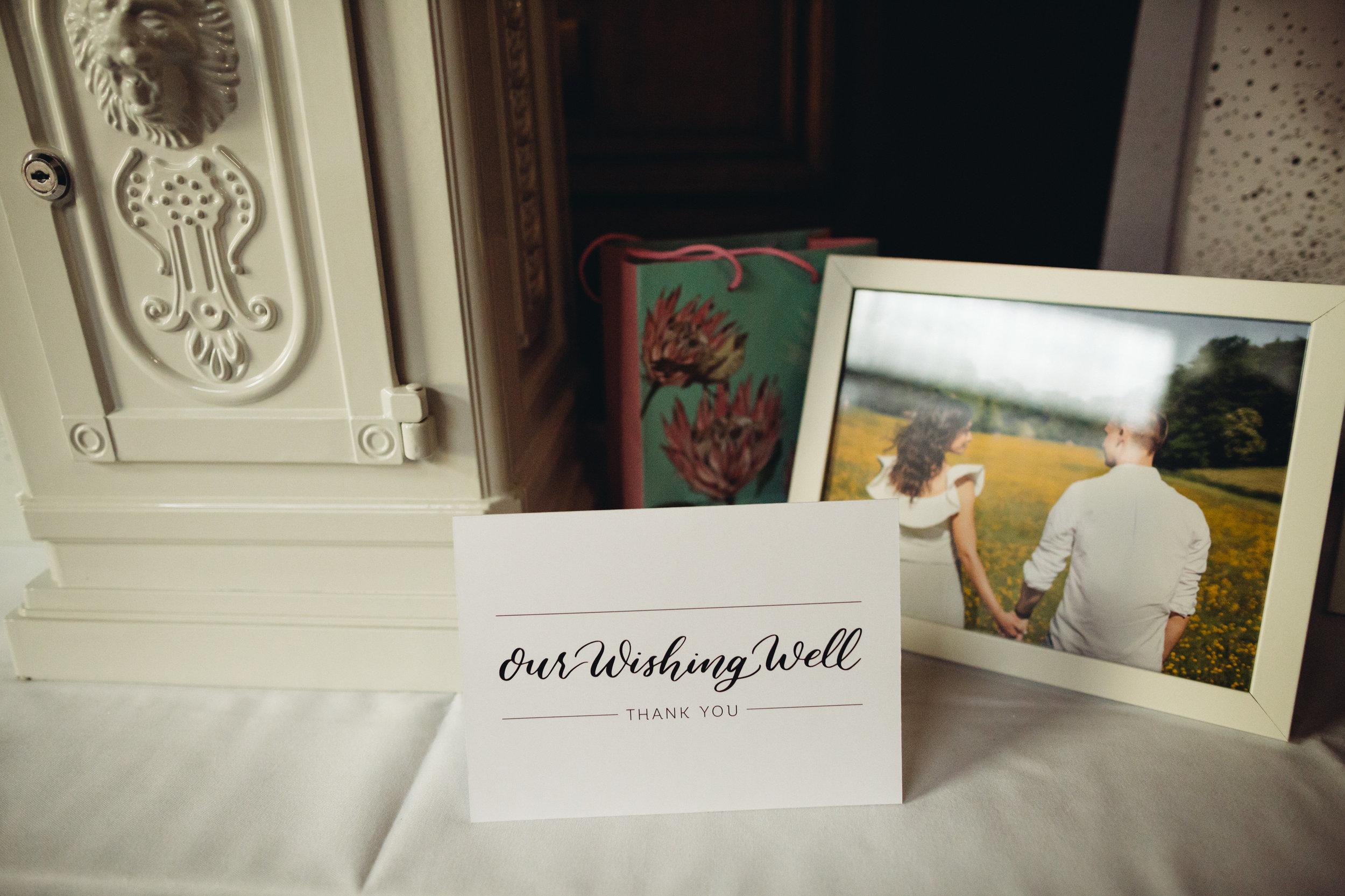A wedding wishing well sign on a table