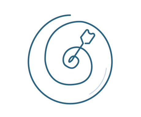 Target icon symbolizing effective strategy and improved online presence, leading to increased revenue