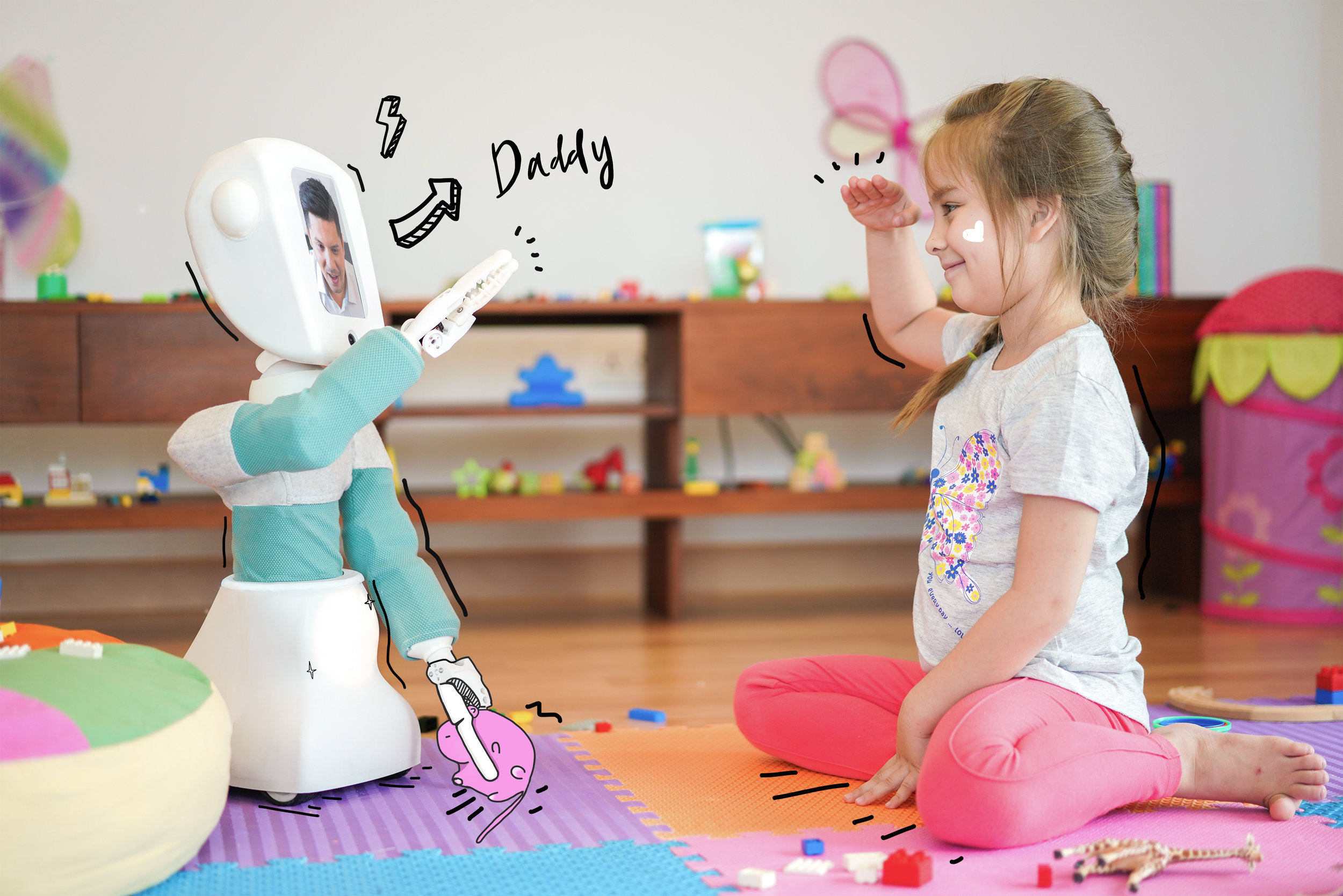 Enabling Natural Play Experiences, Remotely - Parents know how difficult it can be for young children to express themselves through voice/video calls. Young children don't respond well to a barrage of questions and engagements longer than five minutes are difficult. The whole experience can leave both child and parent feeling frustrated with the lack of intimacy.By enabling remote natural play experiences, Cushybots cuts through the confrontation of a voice/video call, allowing the parent to participate in ordinary play activities where communication flows naturally.