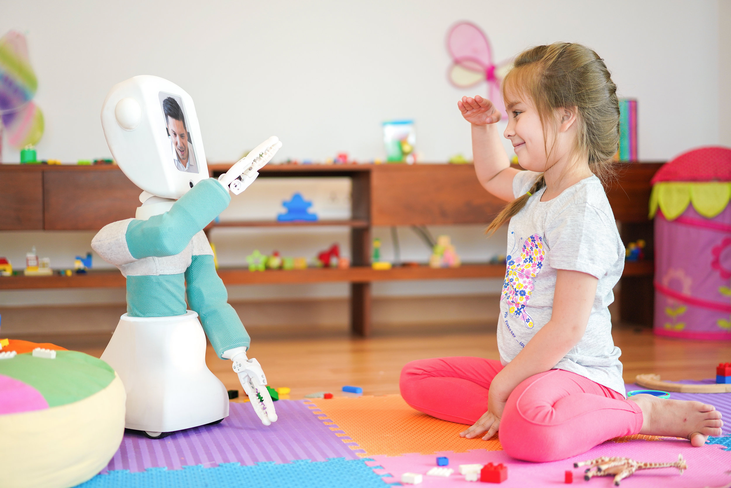 Ready to Go! - With your online account connected to the robot, you are free to call the robot anytime it is online! When the child answers the call, the robot will be yours to control!