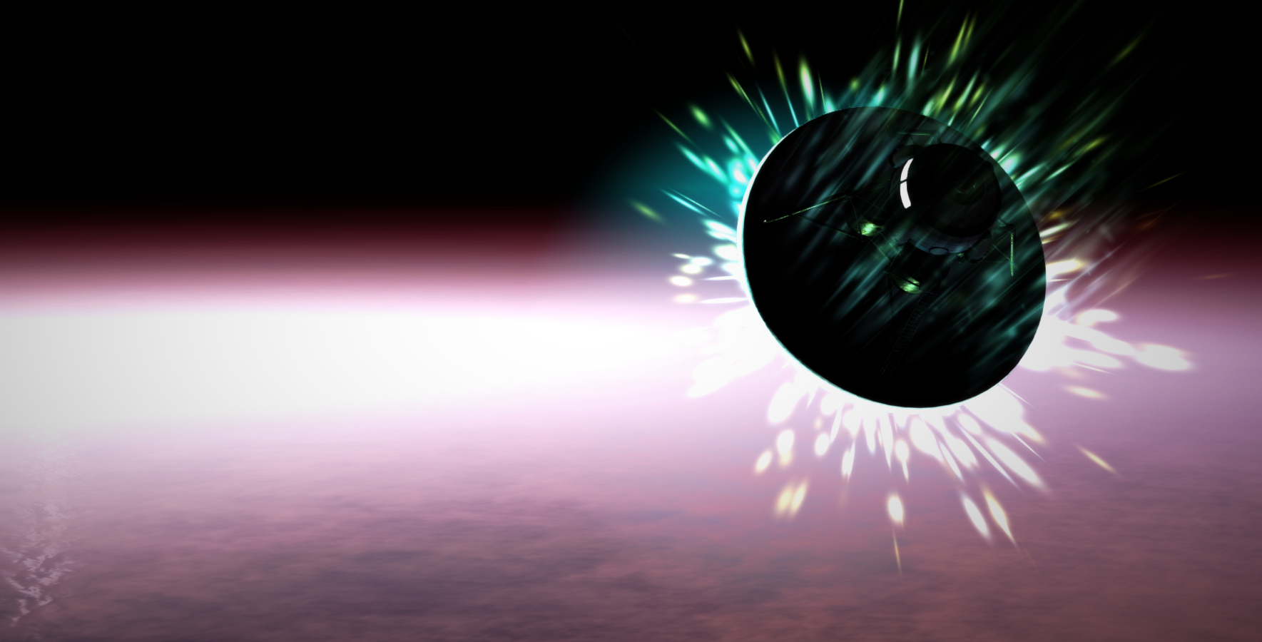 Lander entering Planet X's atmosphere