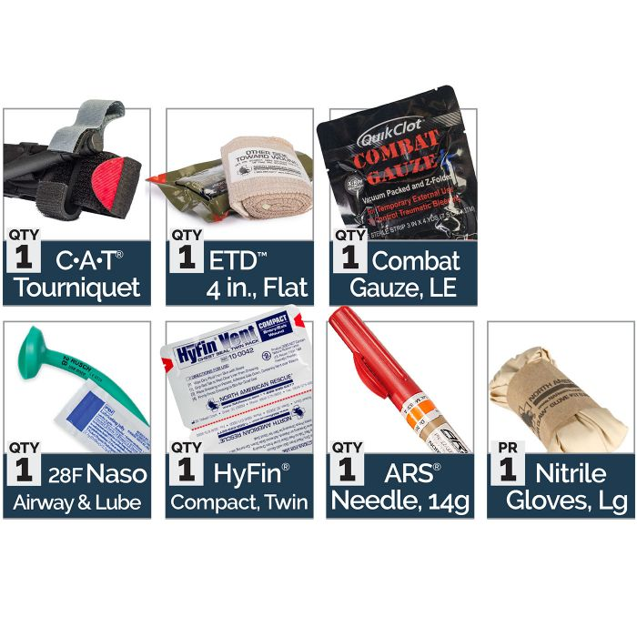 Advanced - Kit Includes:1 C-A-T Tourniquet1 ETD 4 inch, Flat1 Combat Gauze1 28F Naso Airway and Lube1 HyFin Compact, Twin1 ARS Needle, 14g1 Nitrile Gloves, Large