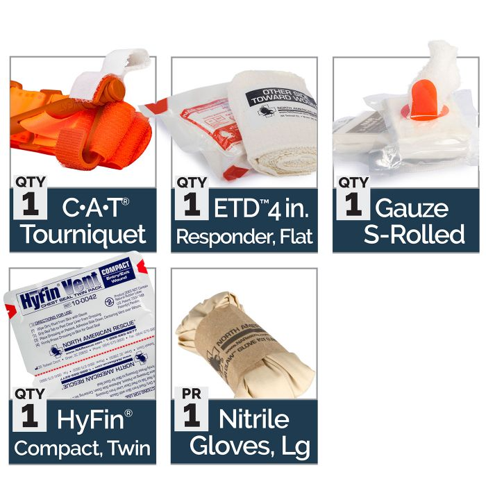 Basic - Kit Includes:1 C-A-T Tourniquet1 ETD 4 inch Responder, Flat1 Gauze S-Rolled1 HyFin Compact, Twin1 Nitrile Gloves, Large