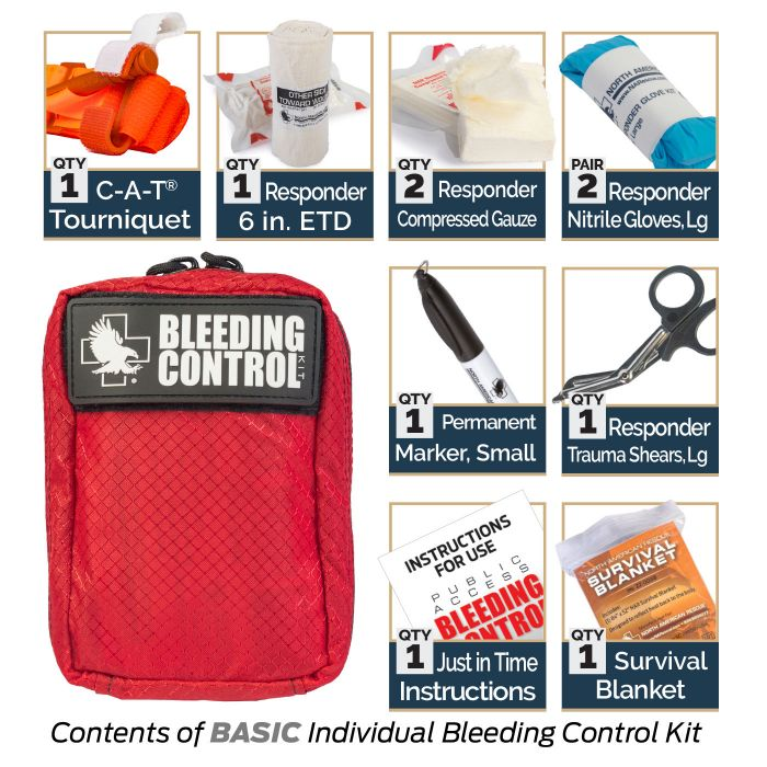 Basic - Kit Includes:1 C-A-T Tourniquet1 Responder 6-inch ETD2 Responder Compressed Gauze2 Responder Nitrile Gloves, Large1 Permanent Marker, Small1 Responder Trauma Shears, Large1 Just in Time Instructions1 Survival Blanket