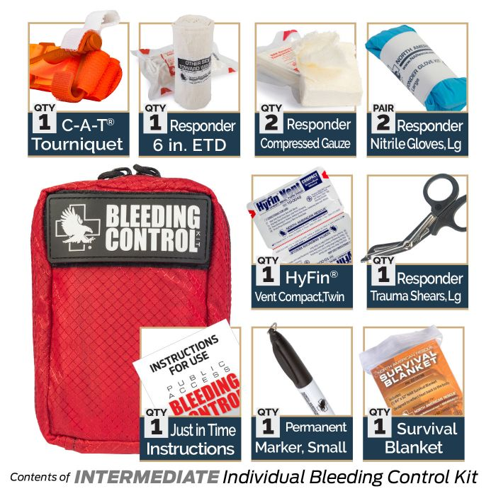 Intermediate - Kit Includes:1 C-A-T Tourniquet1 Responder 6-inch ETD2 Responder Compressed Gauze2 Responder Nitrile Gloves, Large1 Permanent Marker, Small1 Responder Trauma Shears, Large1 Just in Time Instructions1 Survival Blanket1 HyFin Vent Compact, Twin
