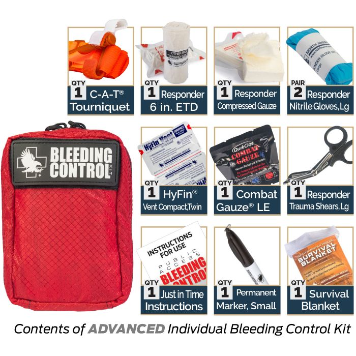 Advanced - Kit Includes:1 C-A-T Tourniquet1 Responder 6-inch ETD1 Responder Compressed Gauze2 Responder Nitrile Gloves, Large1 Permanent Marker, Small1 Responder Trauma Shears, Large1 Just in Time Instructions1 Survival Blanket1 HyFin Vent Compact, Twin1 Combat Gauze