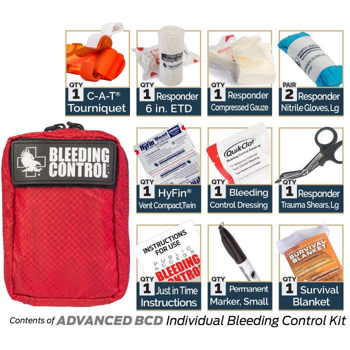 Advanced BCD - Kit Includes:1 C-A-T Tourniquet1 Responder 6-inch ETD1 Responder Compressed Gauze2 Responder Nitrile Gloves, Large1 Permanent Marker, Small1 Responder Trauma Shears, Large1 Just in Time Instructions1 Survival Blanket1 HyFin Vent Compact, Twin1 Bleeding Control Dressing