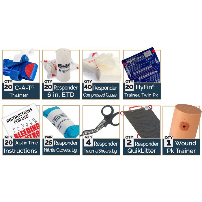 Intermediate - Kit Includes:20 C-A-T Trainer Blue Tourniquets20 Responder 6-inch ETD40 Responder Compressed Gauze20 HyFin Trainer, Twin Pack20 Just in Time Instructions25 Responder Nitrile Gloves, Large4 Responder Trauma Shears, Large2 Responder QuikLitter1 Wound Pack Trainer
