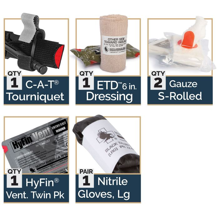 Basic - 1 C-A-T Tourniquet1 ETD 6 in. Dressing2 Gauze S-Rolled1 HyFin Vent. Twin Pack1 Nitrile Gloves, Large