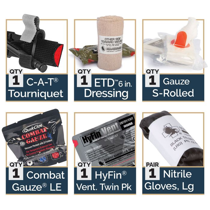 With Combat Gauze - 1 C-A-T Tourniquet1 ETD 6 in. Dressing1 Gauze S-Rolled1 Combat Gauze LE1 HyFin Vent. Twin Pack1 Nitrile Gloves, Large