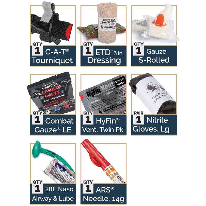 Advanced - 1 C-A-T Tourniquet1 ETD 6 in. Dressing1 Gauze S-Rolled1 Combat Gauze LE1 HyFin Vent Twin Pack1 Nitrile Gloves, Large1 28F Naso Airway & Lube1 ARS Needle, 14g