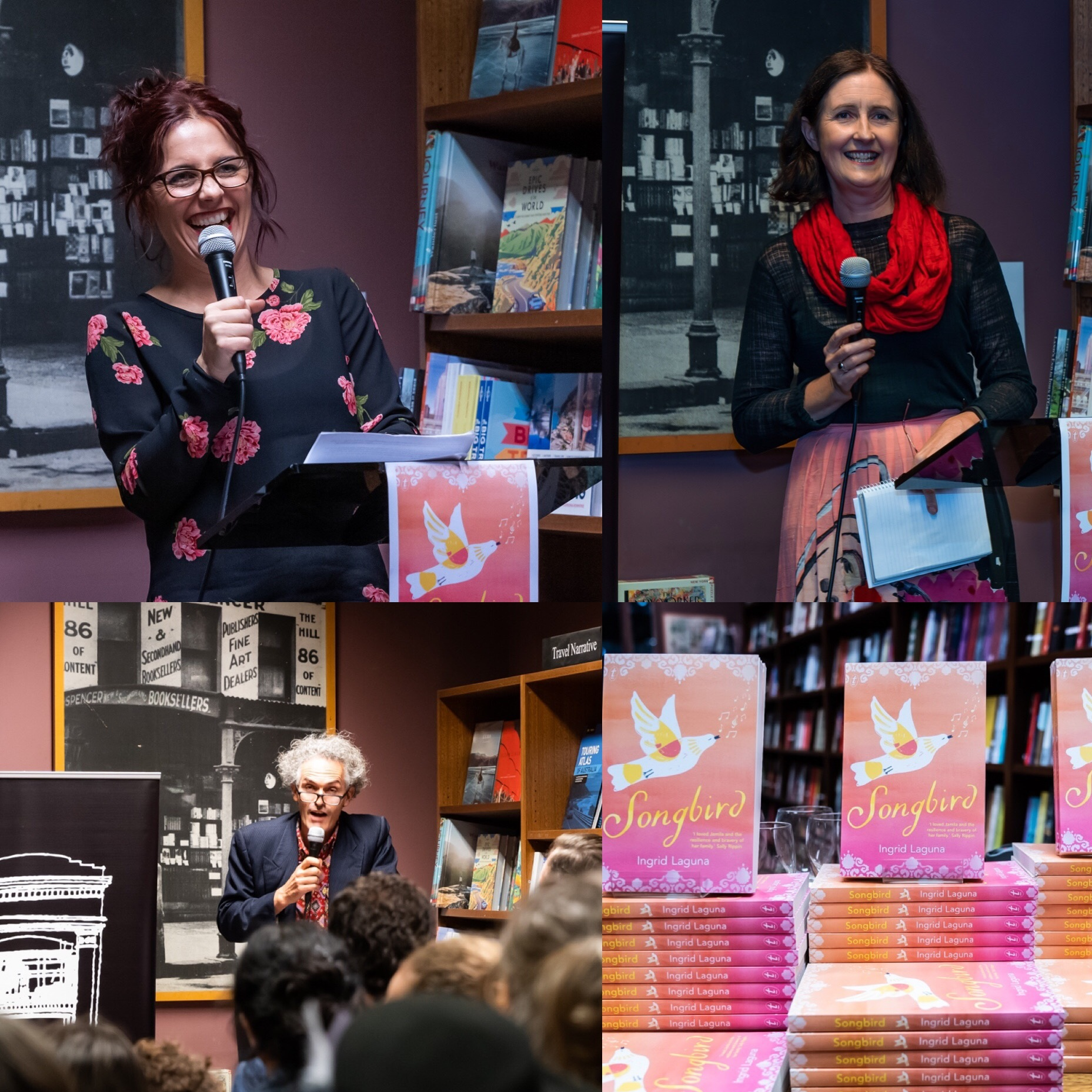 Songbird launch at The Hill of Content, with my editor Jane Pearson (top right), the brilliant Bernard Caleo (bottom left) and also Rachel Power - photos to come! A wonderful night.