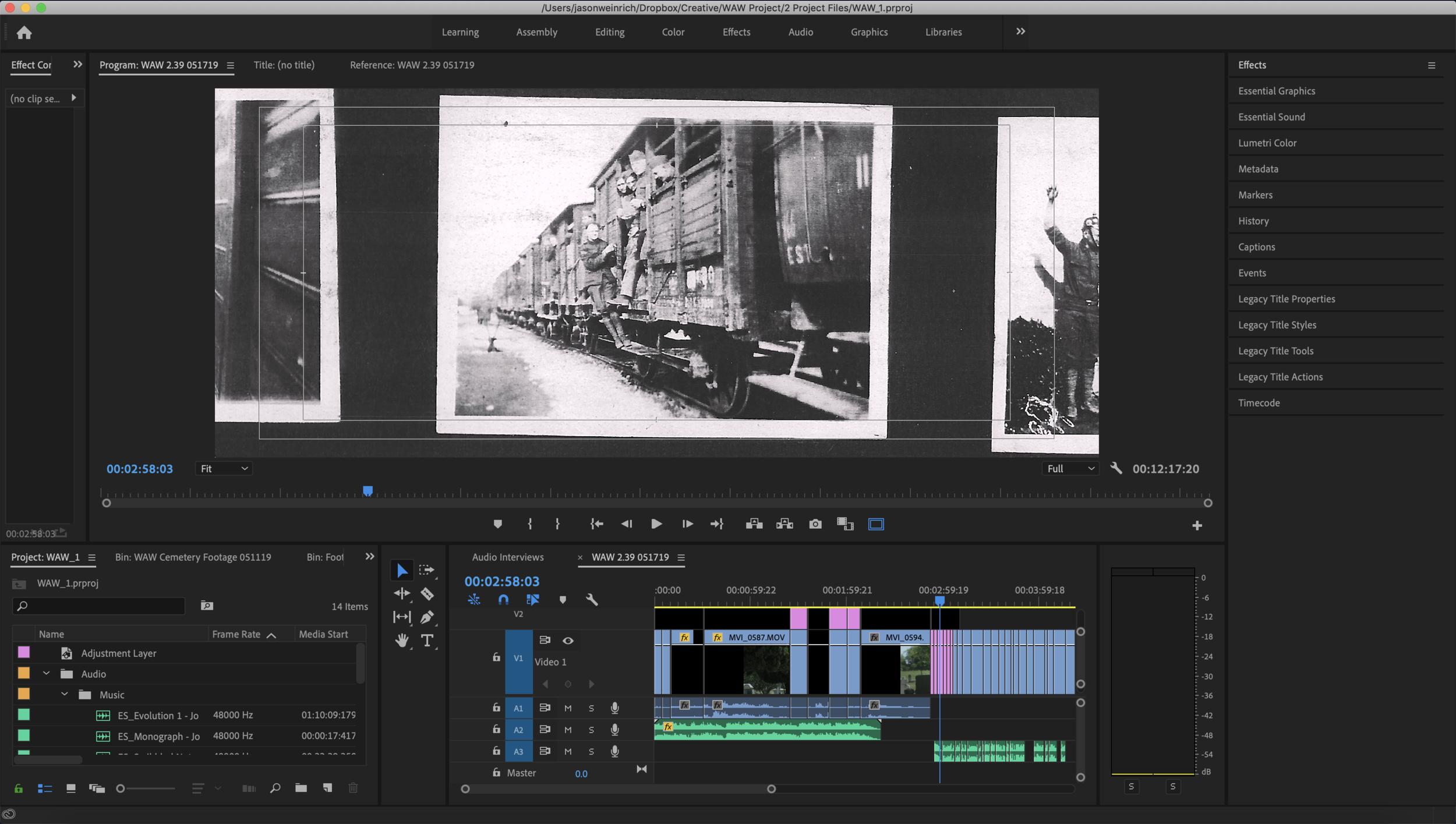 Screenshot of Premiere Pro video editing software.
