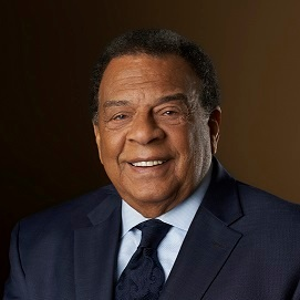 Ambassador Andrew Young has earned worldwide recognition as a pioneer in and champion of civil and human rights. Ambassador Young's lifelong dedication to service is illustrated by his extensive leadership experience of over sixty-five years, serving as a member of Congress, African American U.S. Ambassador to the United Nations, Mayor of Atlanta and ordained minister, among other positions.  During the 1960's, Young was a key strategist and negotiator during civil rights campaigns that led to the passage of the Civil Rights Act of 1964 and the Voting Rights Act of 1965. Appointed as an Ambassador to the United Nations in 1977, Young negotiated an end to white-minority rule in Namibia and Zimbabwe and brought President Carter's emphasis on human rights to international diplomacy efforts. As two-term Mayor of Atlanta, Young brought in over 1,100 businesses, over 70 billion in foreign direct investments and generated over a million jobs.  Ambassador Young has received honorary degrees from more than 100 universities and colleges in the U.S. and abroad and has received various awards, including an Emmy Lifetime Achievement award in 2011 and the Dan Sweat Award in 2017. His portrait also became part of the permanent collection of the Smithsonian National Portrait Gallery.  Ambassador Young also serves on a number of boards, including, but not limited to, the Martin Luther King Center for Non-Violent Social Change, Morehouse College, Andrew Young School of Policy Studies at Georgia State and America's Mart. In 2003, he and his wife, Carolyn McClain Young, founded the Andrew J. Young Foundation to support and promote education, health, leadership and human rights in the U.S., Africa, and the Caribbean. Young currently serves as the Chairman of the Andrew J. Young Foundation.  In 2012, Young retired from GoodWorks International, LLC, after well over a decade of facilitating sustainable economic development in the business sectors of the Caribbean and Africa. Young was born in 1932 in New Orleans, and he currently lives in Atlanta with his wife. He is also a father of three daughters and one son, and a grandfather of eight.
