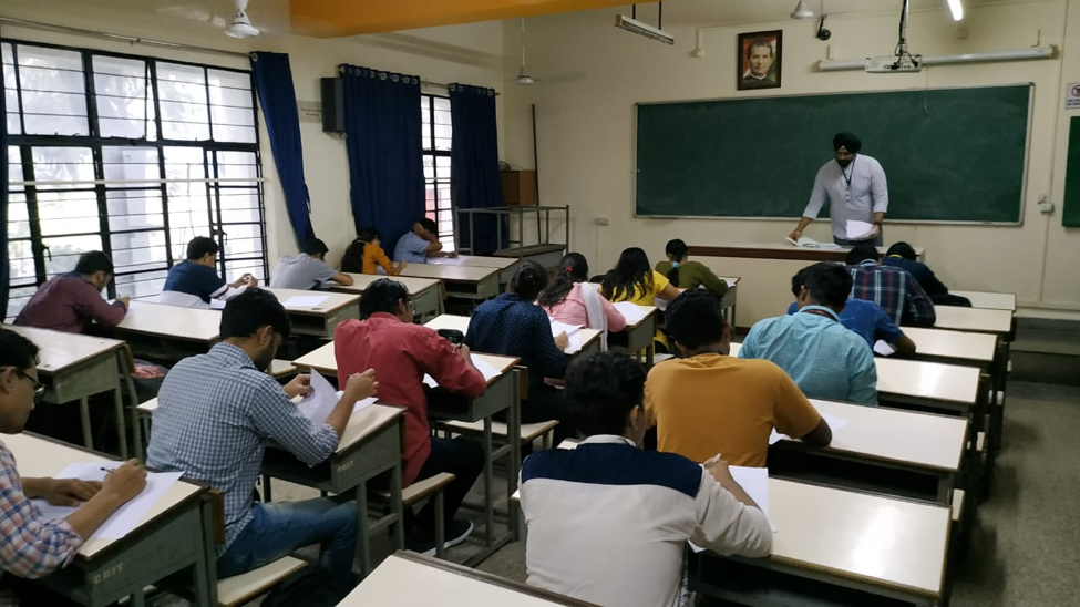 Students attempting the aptitude test