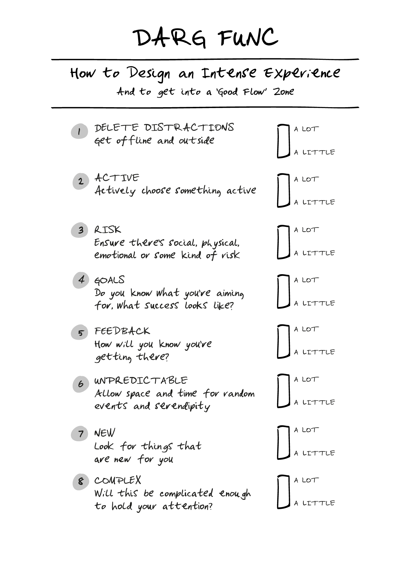 DARG FUNC! - Use the DARG FUNC checklist to design – and have! – more intense experiences that get you into the present, the zone, the right here, right now.