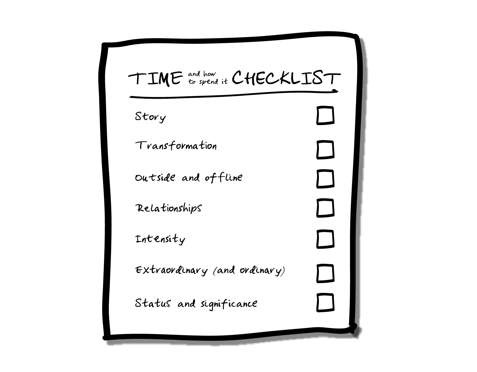 The STORIES checklist - Whenever you're wondering about what to do… with your evening, weekend, holiday or, well, your life, use this science-backed checklist to ensure you're getting the most out of your most precious resource: your time.