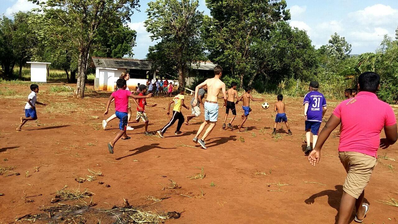 Soccer with school children near Sigiriya