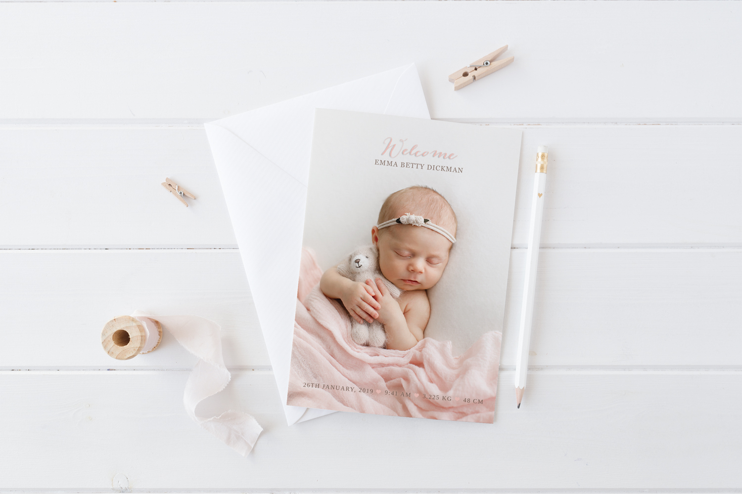 BIRTH ANNOUNCEMENT CARDS - Personalised birth/thank you cards. A beautiful and personalised way to introduce your bundle of joy! Set of 10 cards with white envelopes.From as little as $2.50 per card.