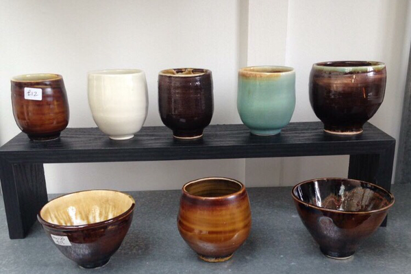 Pottery by Flameworks ceramicist  Angie Wickenden  will be on view
