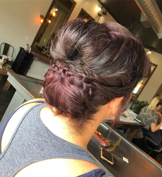 bridesmaid updo with this stunning eggplant hair color😍💜