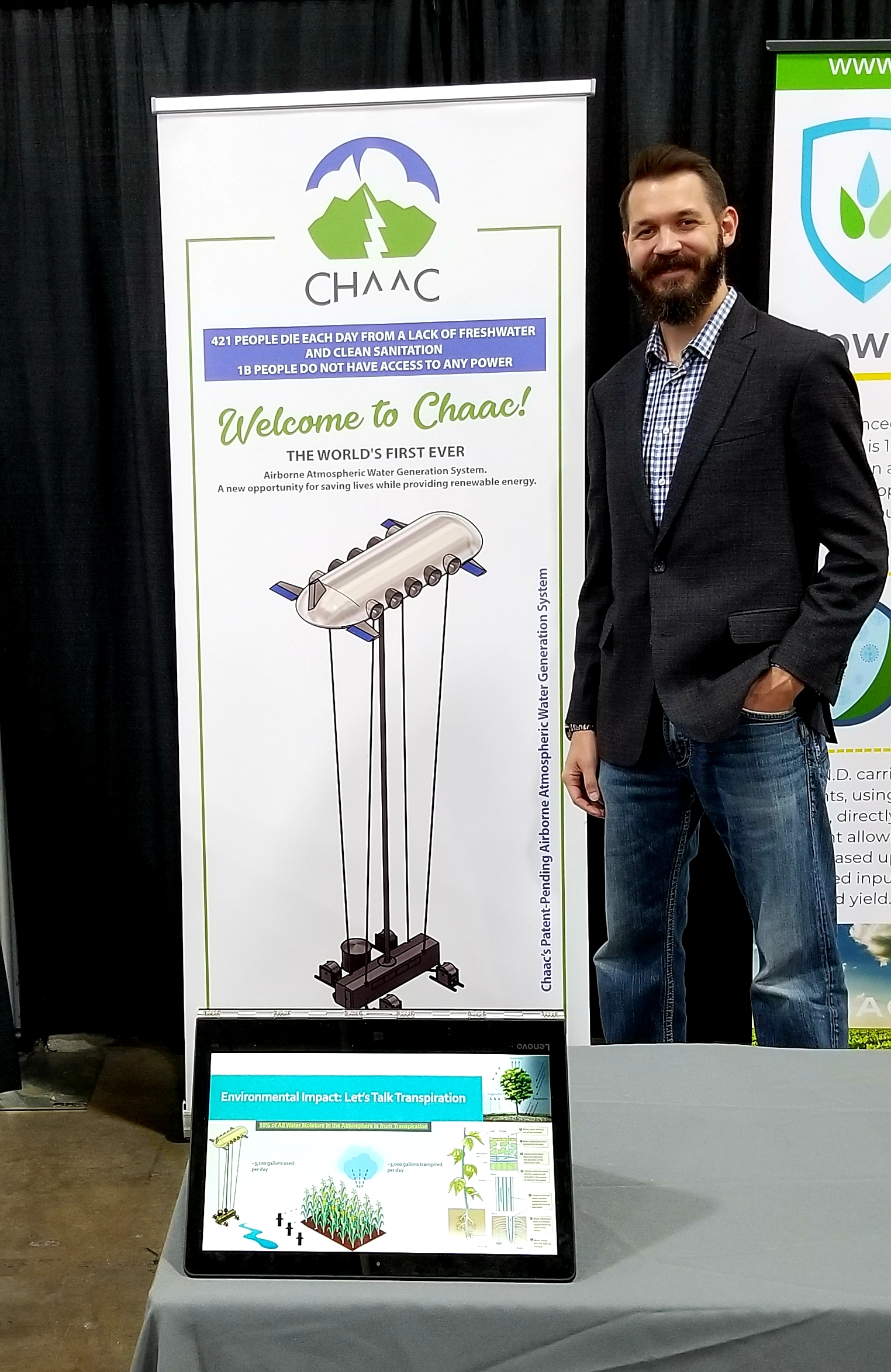 cHAAC'S AIRBORNE AWG SYSTEM - Chaac's Co-Founder & CEO at the 68th United Nations Civil Society Summit held in Salt Lake City, UT - the home of Chaac. We're on a mission of building the world's first Airborne Atmospheric Water Generation System that will increase freshwater accessibility across the globe, advance a new renewable energy solution, and empower economies to thrive via our innovative and self-powering clean technologies.