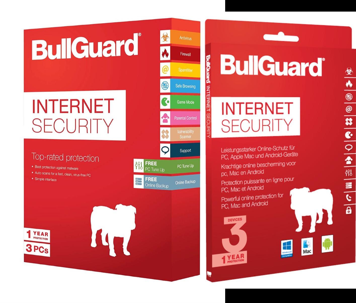 Bullguard for 3 PCs - £29.99  Bullguard for 3 PCs, Mac or Android - £44.99
