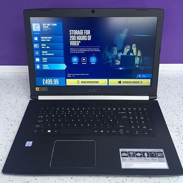 """Watching films or editing photos can be harder on a smaller screen, luckily we have a 17.3"""" Laptop in, perfect for seeing those extra details.  From just £499.99  #windows10 #windows #microsoft #1903 #computer #centre #computercentre #laptop #pc #burntwoodcomputercentre#acer"""