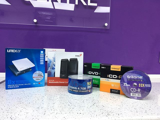 If you're in need of DVDs, CDs, or speakers, were here to help! We constantly keep in stock various different packs of CDs, DVDs, speaker and also external portable disk drives. Not sure we have what you need? Give us a call on 01543 624500, and one of our technicians will be happy to help #CD #DVD #LiteOn #Genius #computercentre #computershop #centre #shop #computer #computers #laptop #desktop #PC #Intenso