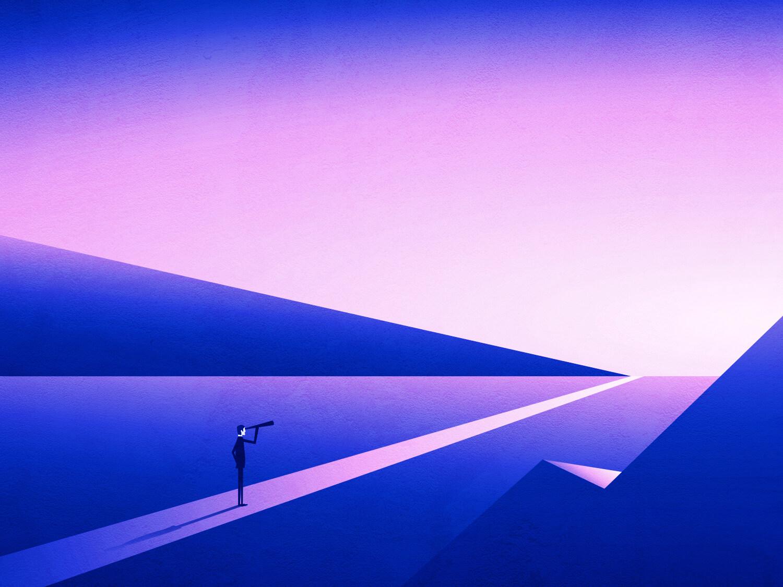 ilustração de homem olhando o horizonte