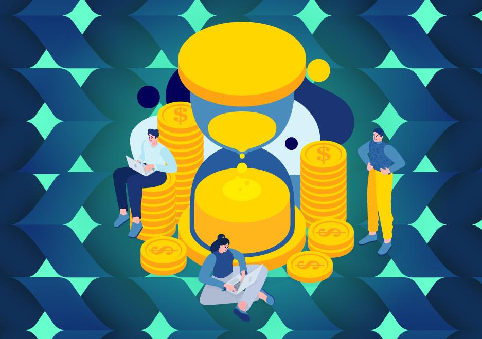 moedas douradas com ampulheta e pessoas