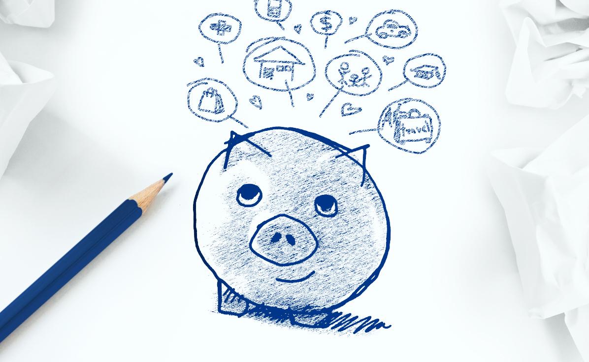 porquinho desenhado no papel