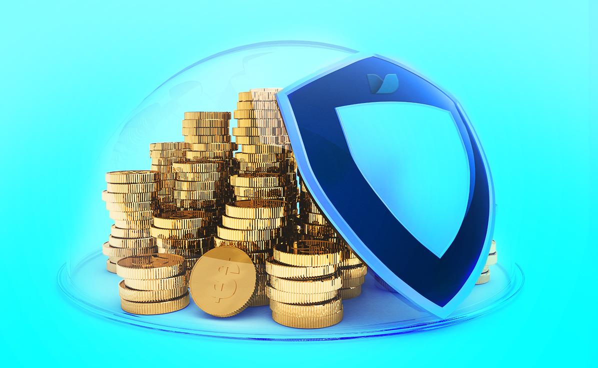 escudo azul protegendo moedas douradas de dinheiro