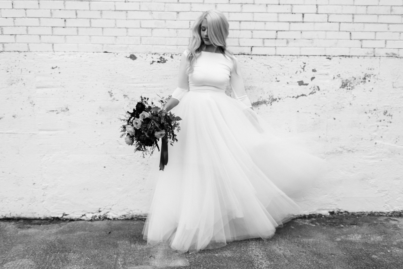Elizabeth Leese Bridal gown on white wall