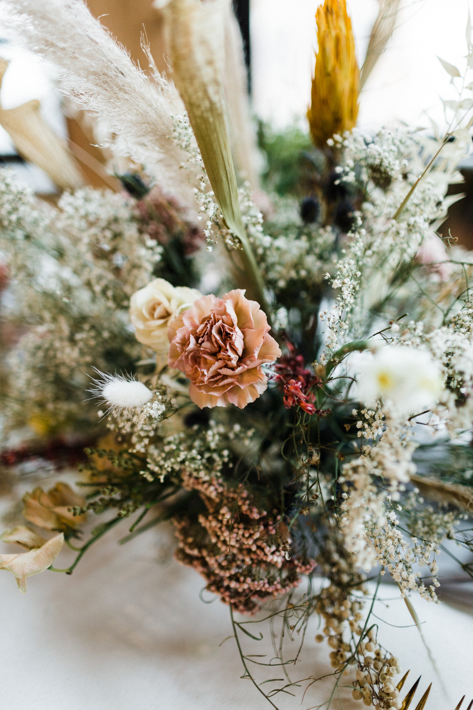 Wedding florals on tablescape at The century hall in fort worth