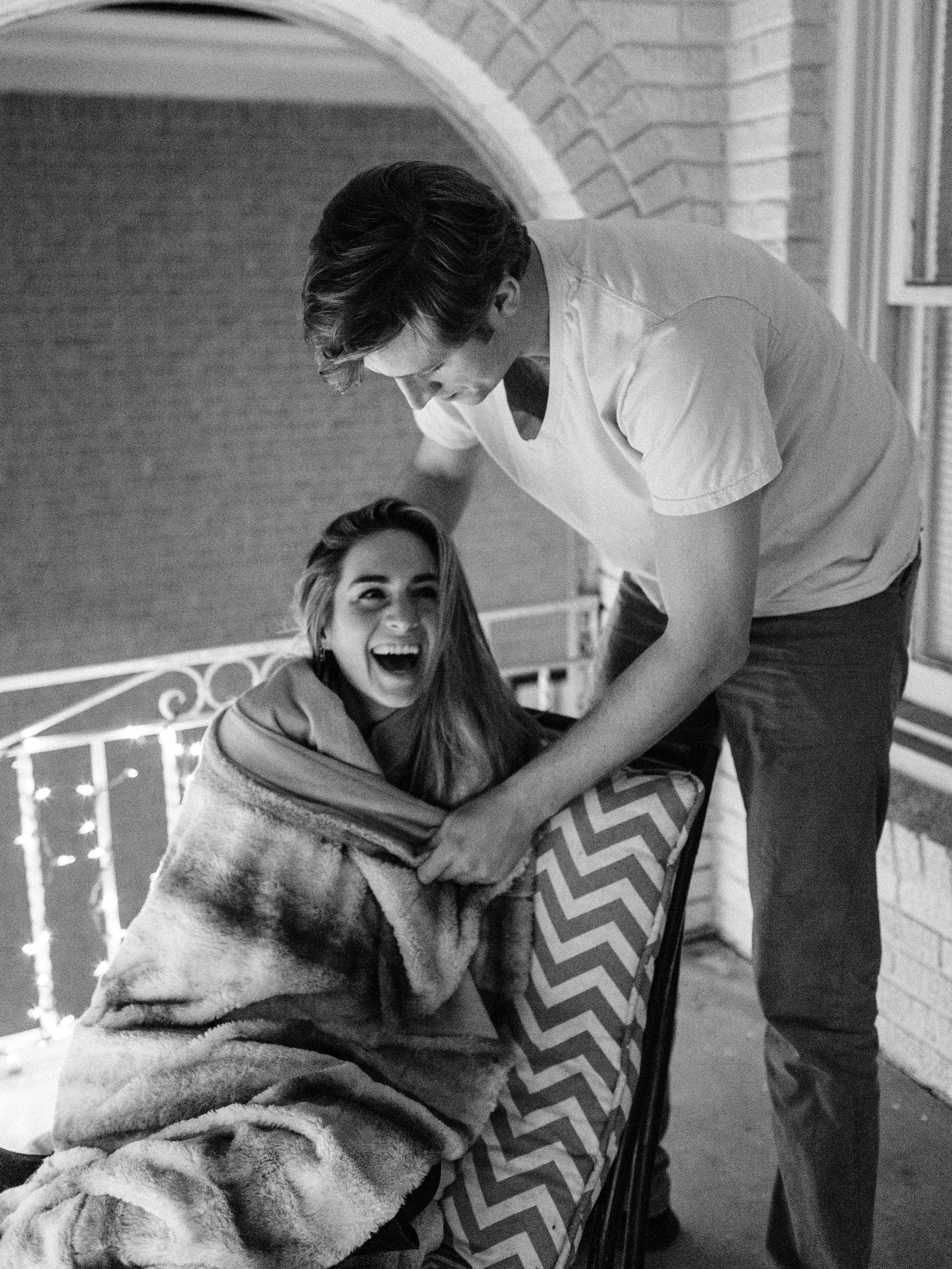 In-home winter couples pictures in Dallas, Texas