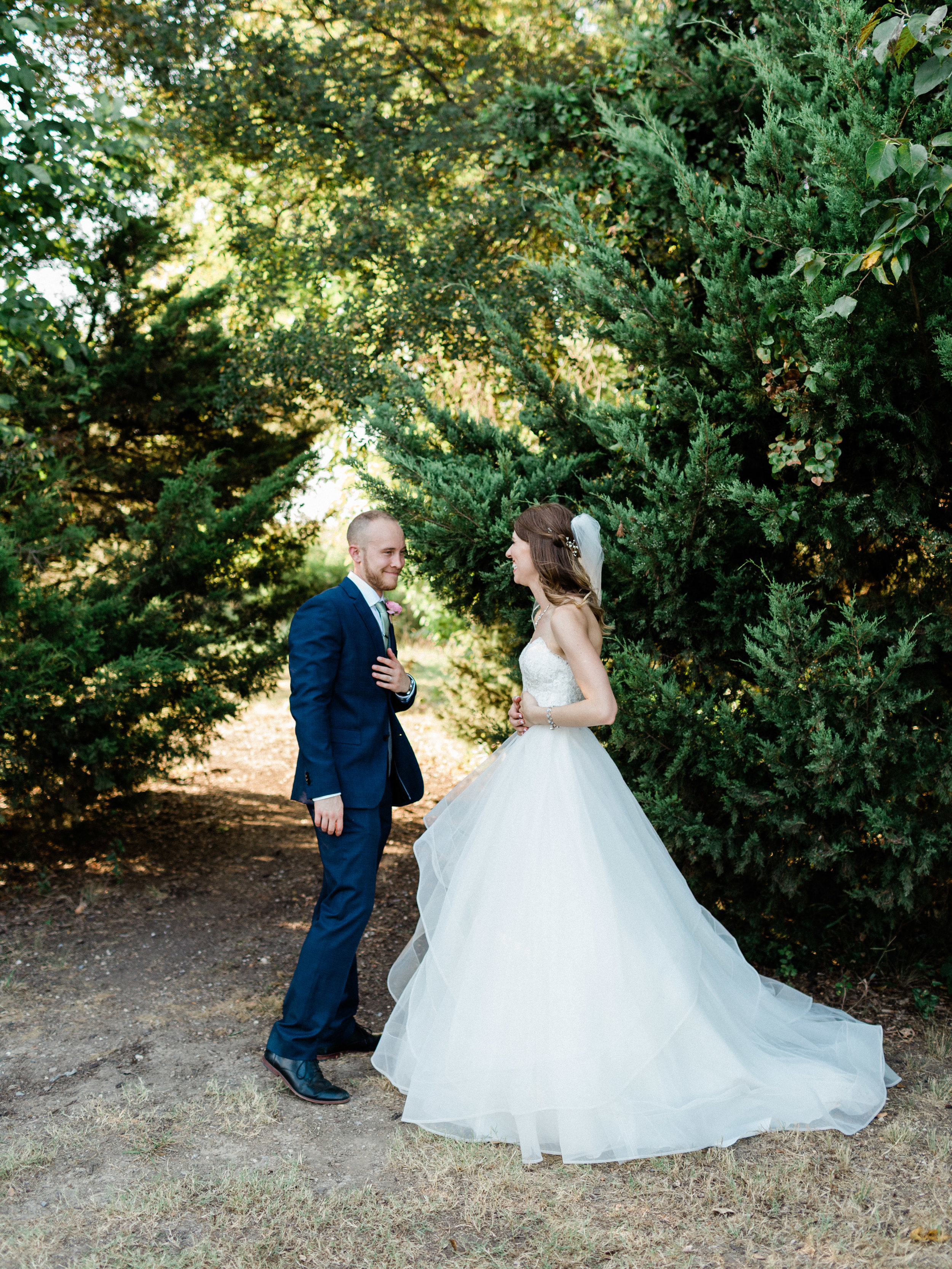 Bride and groom portraits at Chandlers gardens wedding in dfw