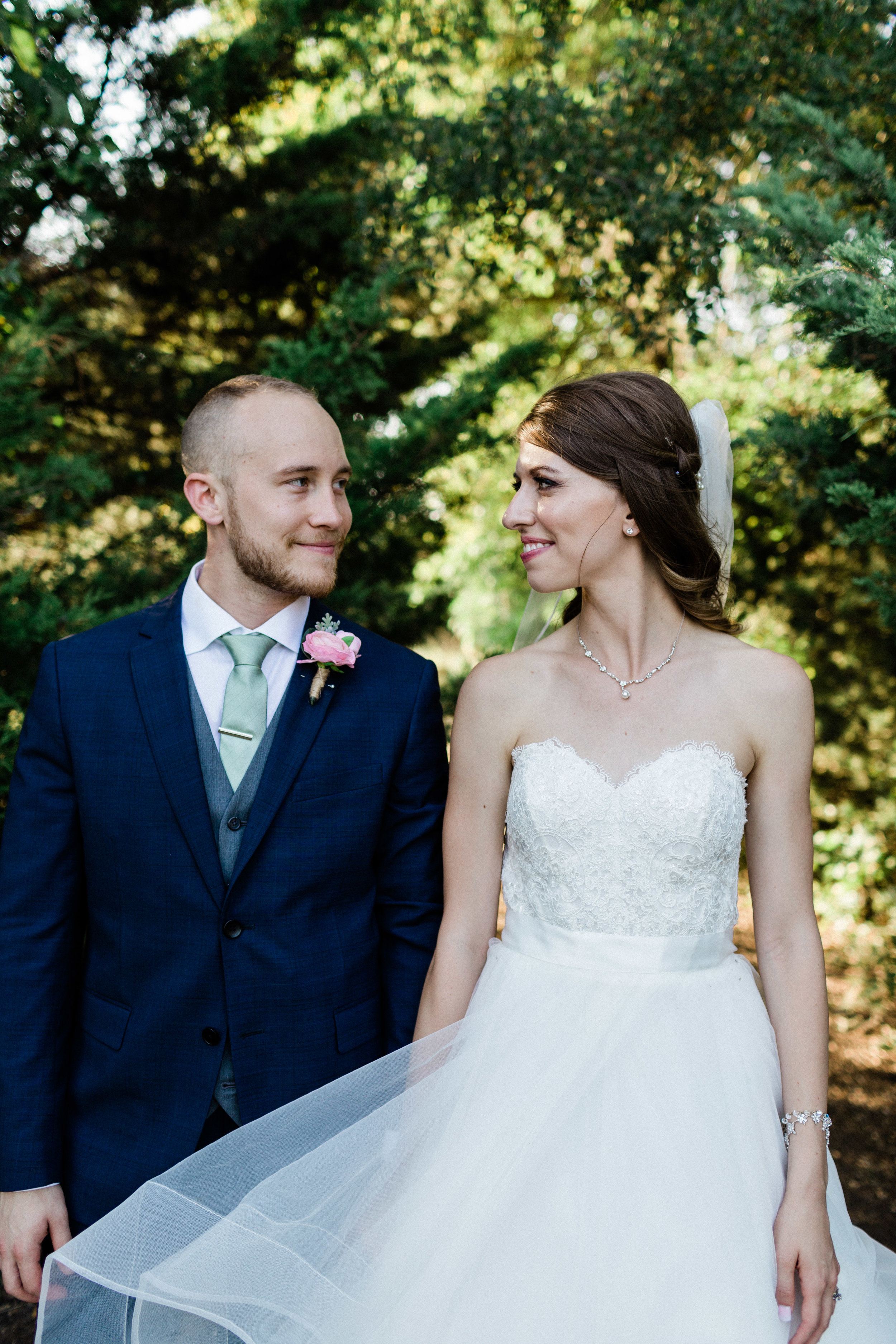 Bride and groom portraits at Chandler's Gardens wedding