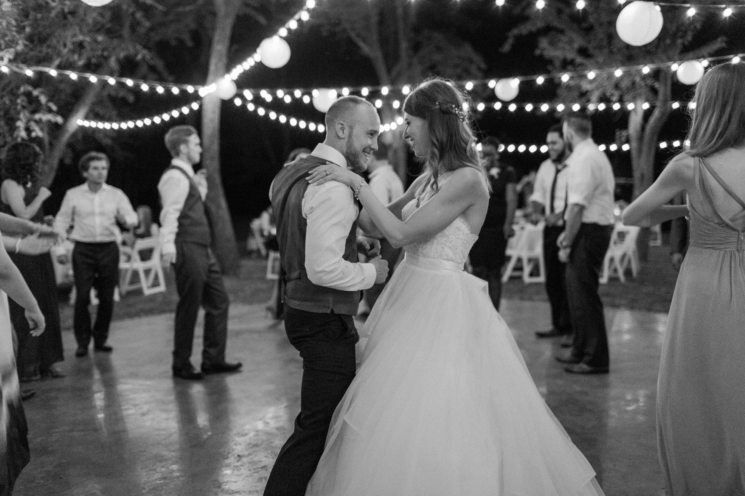 Couple dancing at Reception at chandlers gardens