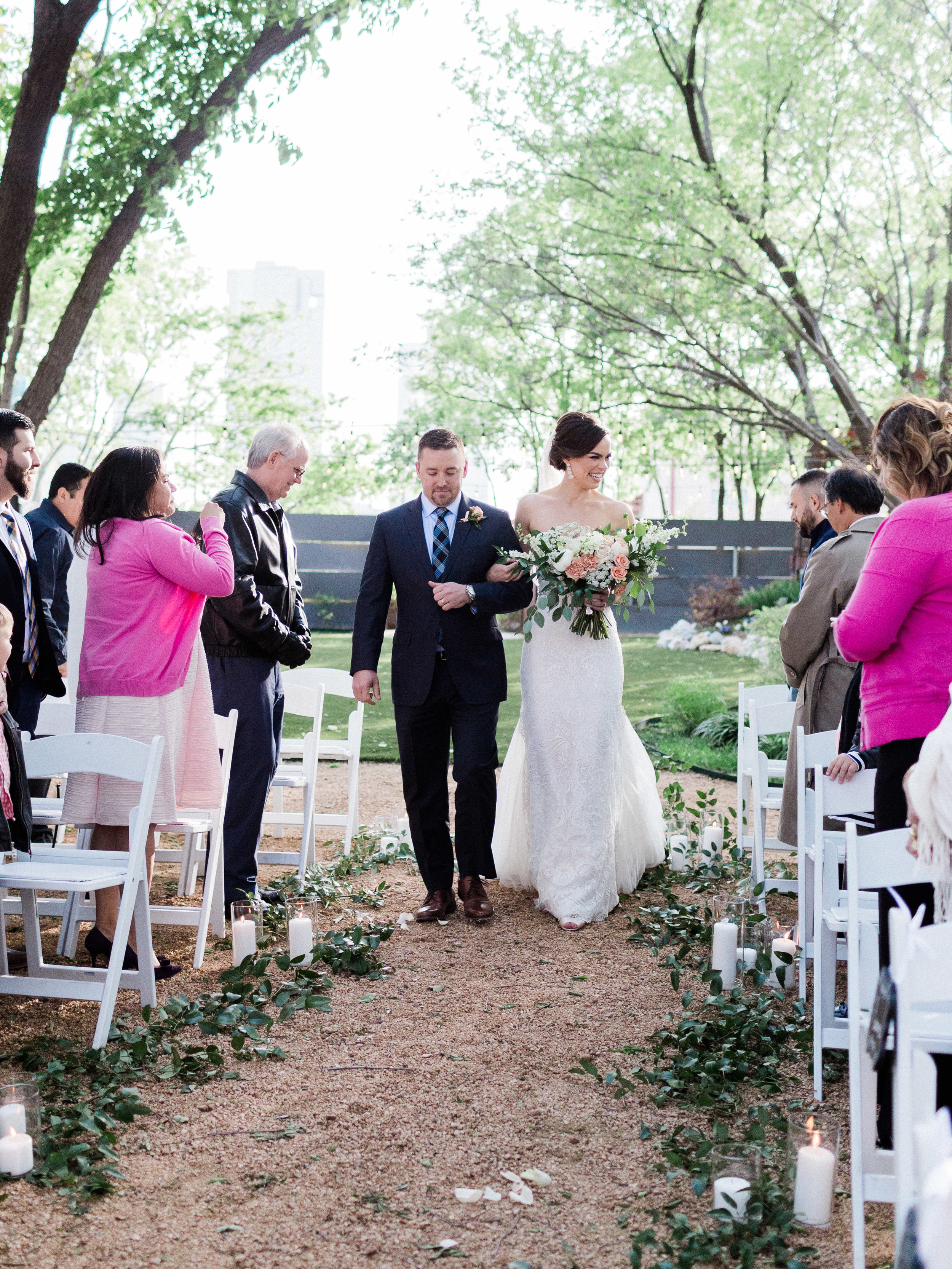 Ceremony at Outdoor Wedding in Fort Worth Texas at Artspace 111