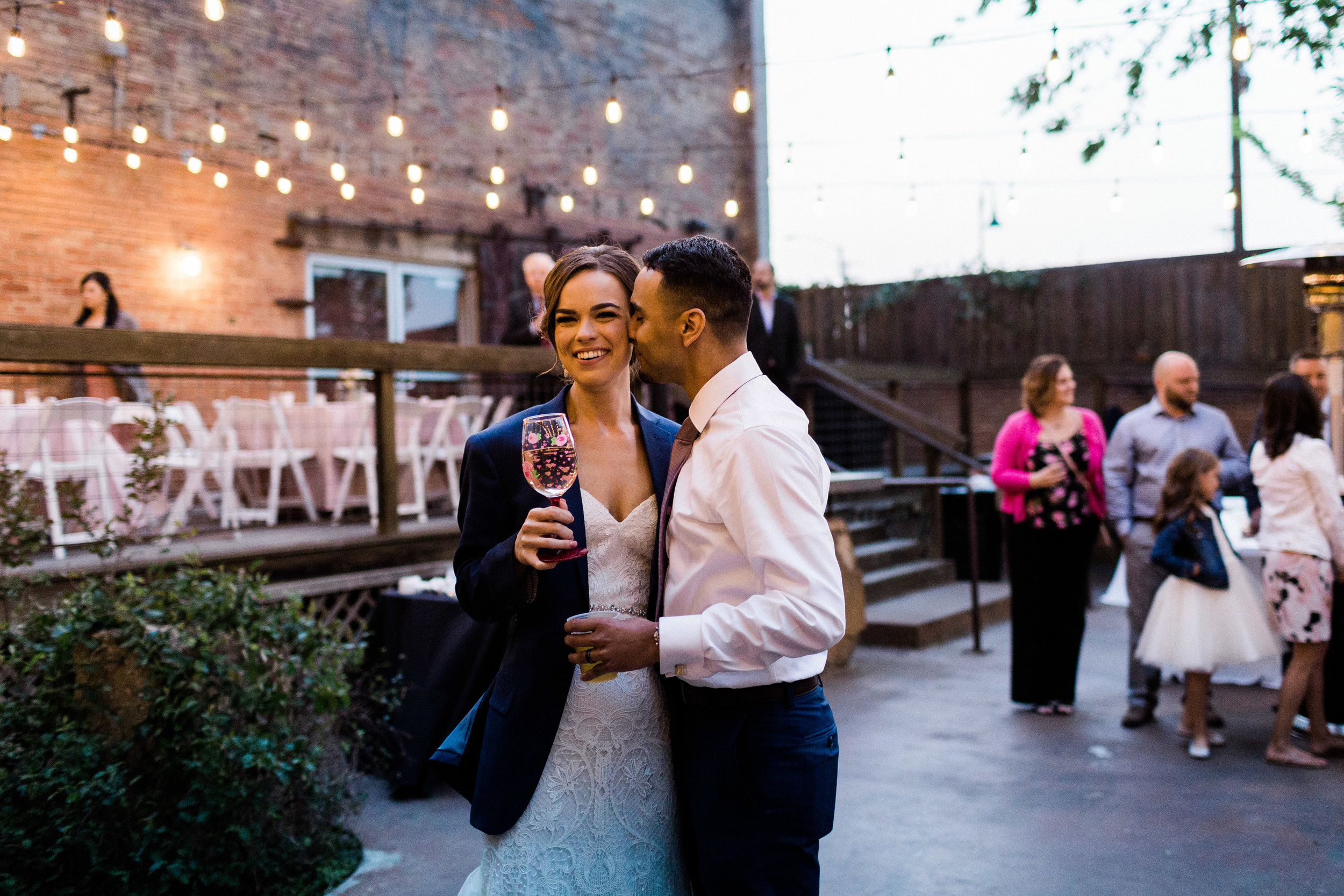 Wedding Reception at Outdoor Wedding in Fort Worth Texas at Artspace 111