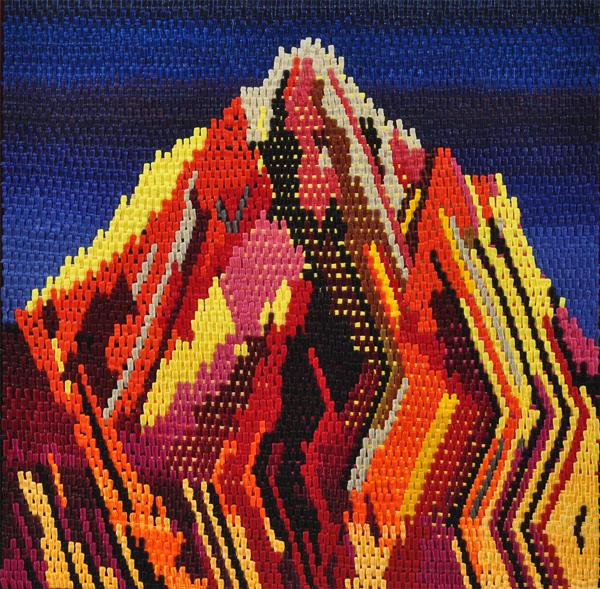 "Cross-stitch Mountain, 34"" x 34"""