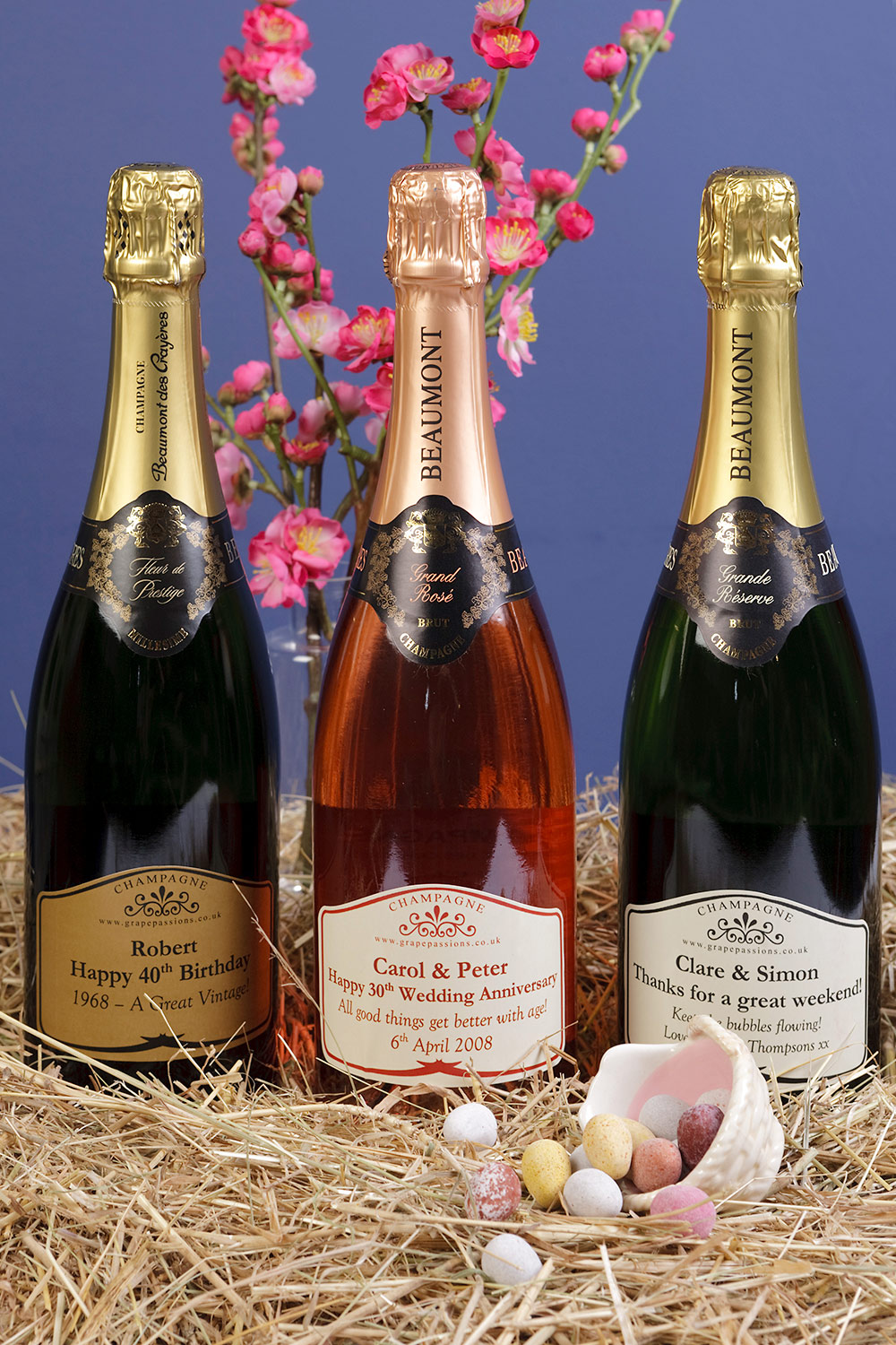 Personalised champagne style bottles for gifts. Photo: Keith Mindham