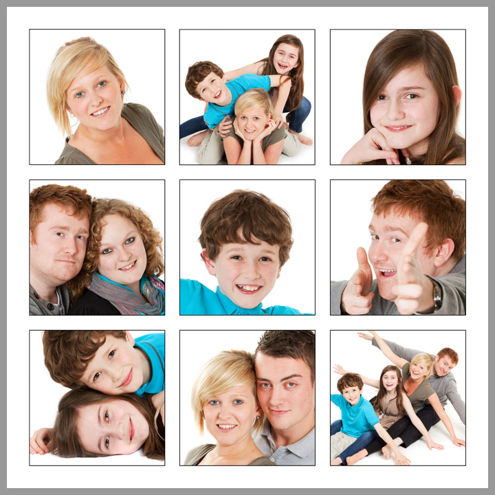 P9  Your nine favourite images designed on one large 420x420mm print with thin black borders around each photograph. Print only £45.00.