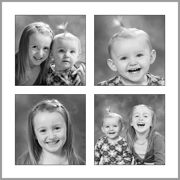P4  Your four favourite images designed on one large 420x420mm print with thin black borders around each photograph. Print only £45.00.