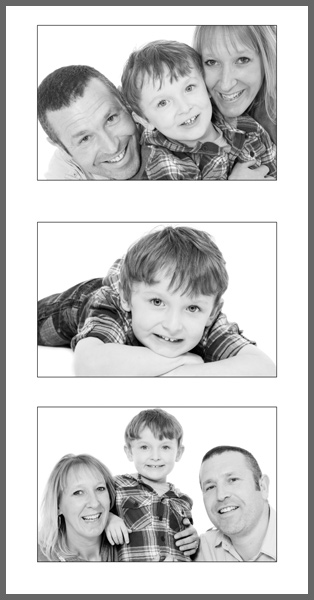 P3P (S or B)  Your three favourite images designed on one print with thin black borders around each photograph.  P3PS  485x254mm Print only £35.00.  P3PB  802x420mm Print only £49.00.  P3L  Landscape version also available
