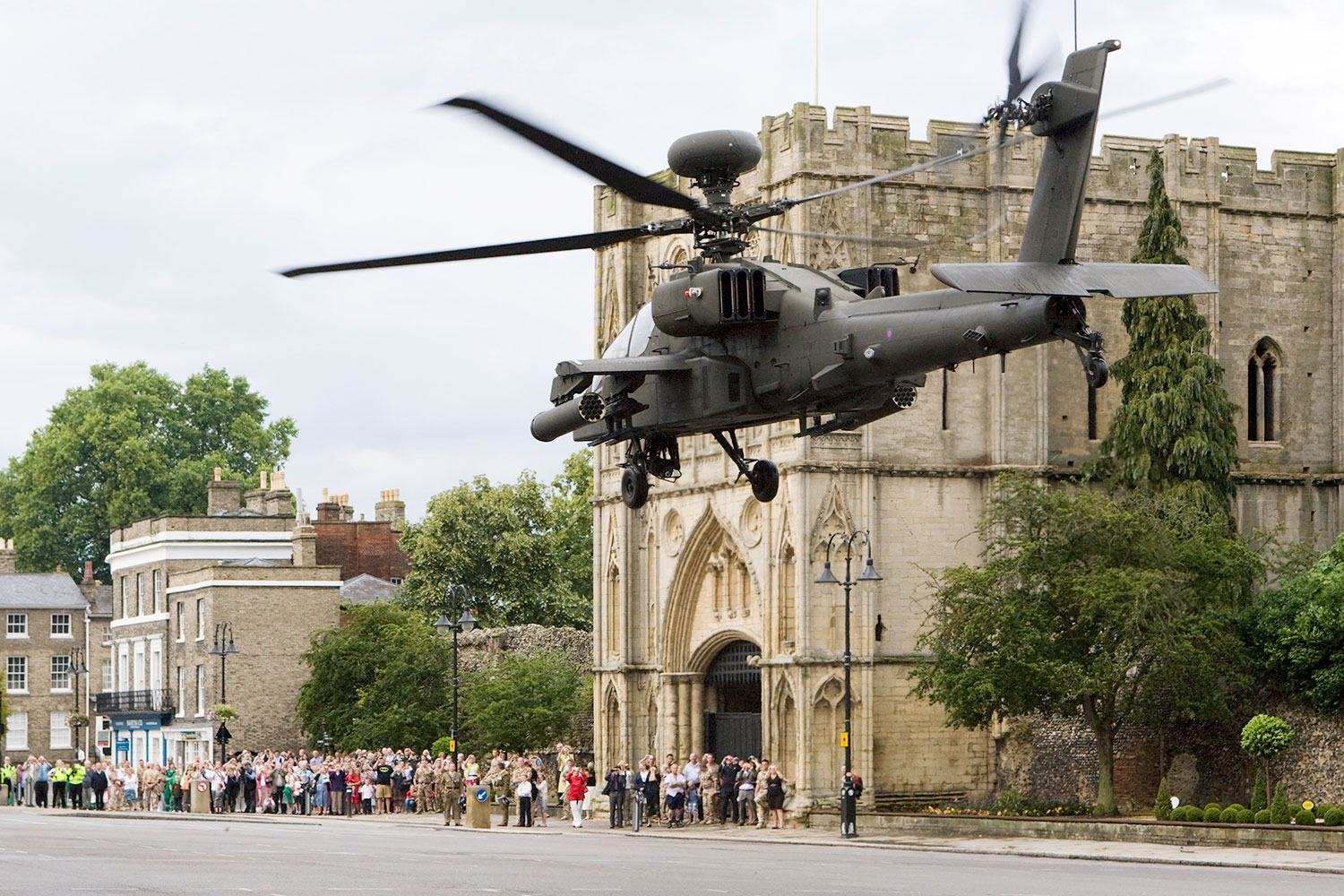 An Apache helicopter from RAF Wattisham flying over Angel Hill, Bury St Edmunds.